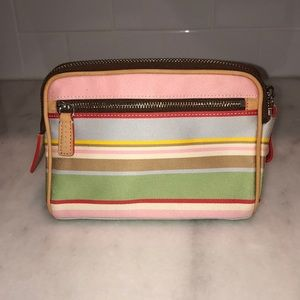 Coach Bags - Coach Colorful Pastel Striped Cosmetic Bag